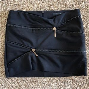 Zara black mini zip skirt